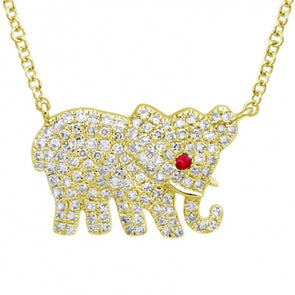 14k Yellow Gold Elephant Diamond Necklace