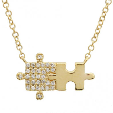 14K Yellow Gold Puzzle Diamond Necklace