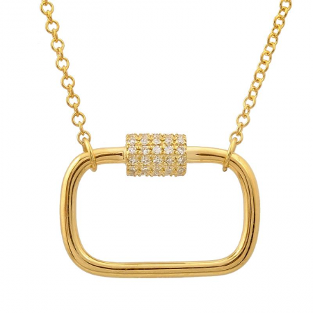 14k Yellow Gold Diamond Carabiner Necklace
