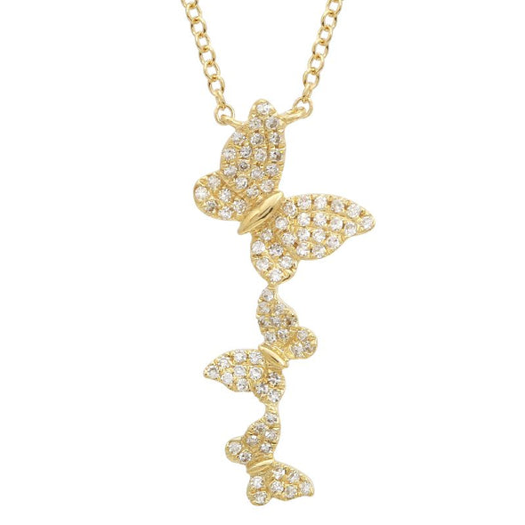 14K Yellow Gold Diamond Triple Butterfly Necklace
