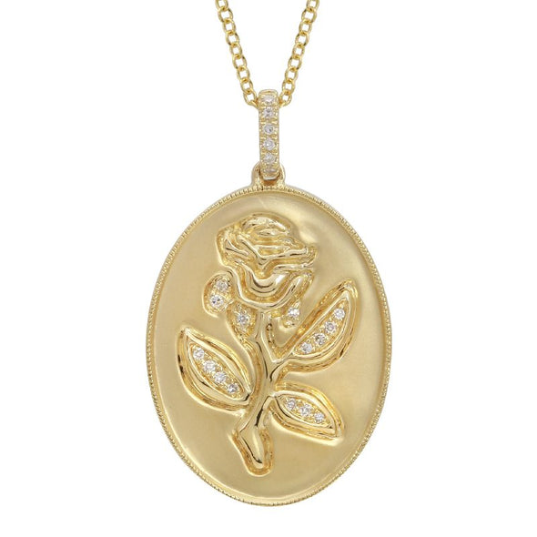 14K Yellow Gold Diamond Rose Pendant with Chain