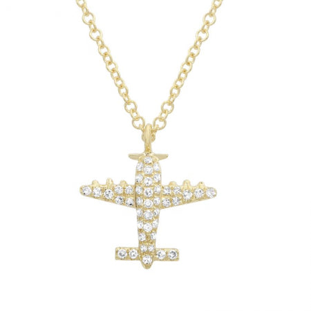 14K Yellow Gold Diamond Airplane Pendant & Chain