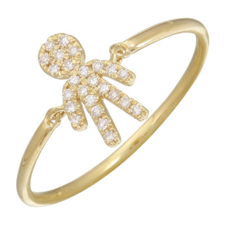 14K Yellow Gold Boy Diamond Ring