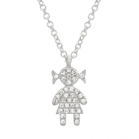 14K White Gold Diamond Girl Necklace