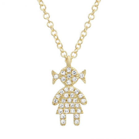 14K Gold Diamond Girl Necklace