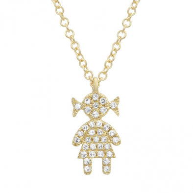 14K Yellow Gold Diamond Girl Necklace
