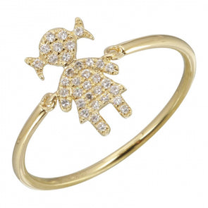14k Yellow Gold Girl Diamond Ring