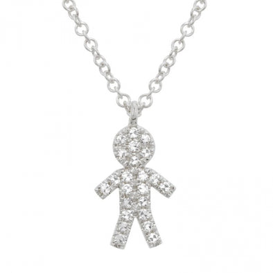 White Gold 14K Diamond Boy Diamond Necklace