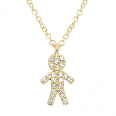 14K Yellow Gold Diamond Boy Diamond Necklace