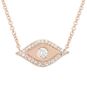 14K Rose Gold Diamond Evil Eye Necklace