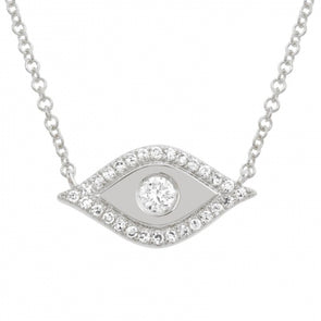 14K White Gold Diamond Evil Eye Necklace