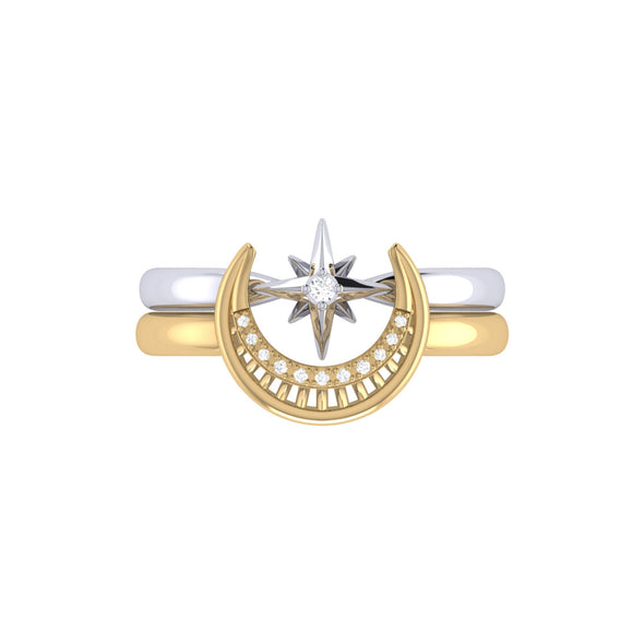 Two-Tone Nighttime Lovers Detachable Ring in 14 KT Yellow Gold Vermeil on Sterling Silver