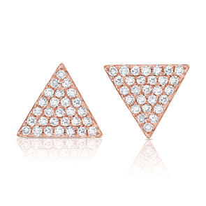 14K Rose Gold Large Diamond Triangle Earrings
