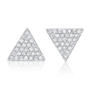 14K White Gold Large Diamond Triangle Earrings