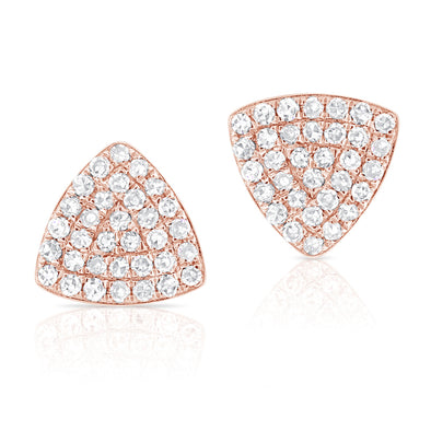 14K Rose Gold Rounded Diamond Triangle Earrings