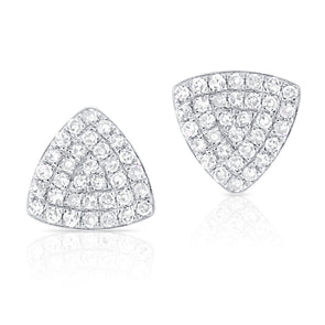 14K White Gold Rounded Diamond Triangle Earrings