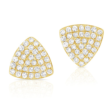 14K Yellow Gold Rounded Diamond Triangle Earrings