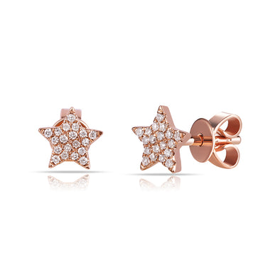 14K Rose Gold Diamond Mini Star Earrings