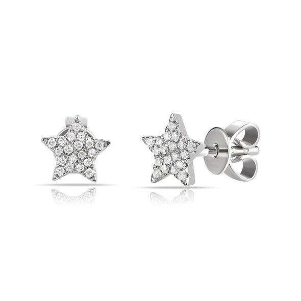 14K White Gold Diamond Mini Star Earrings