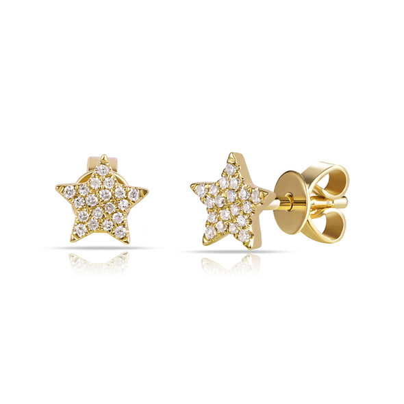 14K Yellow Gold Diamond Mini Star Earrings