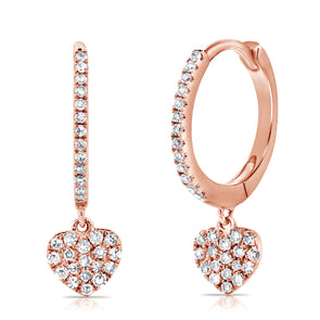 14K Rose Gold Diamond Dangling Heart Earrings