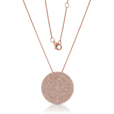 14K Rose Gold Diamond Extra Large Pave Disk Necklace