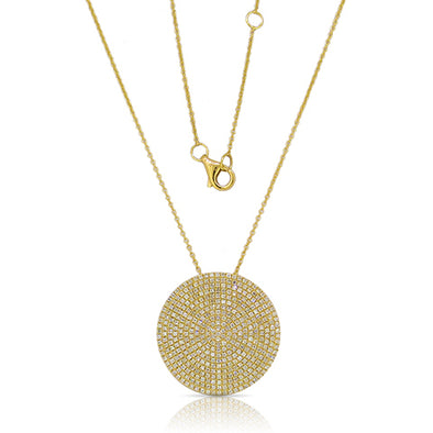 14K Yellow Gold Diamond Extra Large Pave Disk Necklace