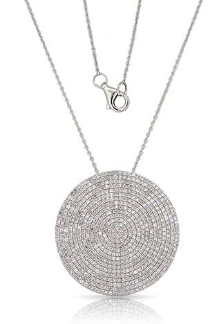 14k White Gold X-Large Disc Pendant & Chain