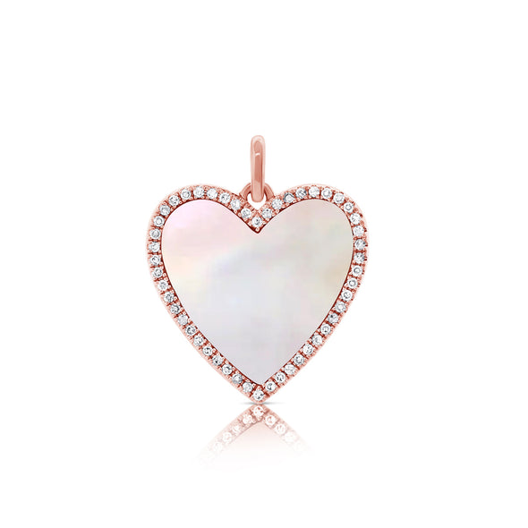 14K Yellow Gold Diamond + Mother of Pearl Heart Pendant