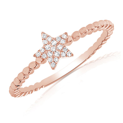 14K Rose Gold Diamond Star Beaded Ring