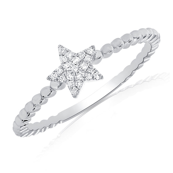 14K White Gold Diamond Star Beaded Ring