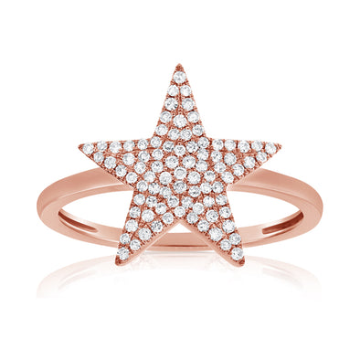 14K Rose Gold Diamond Pave Star Ring