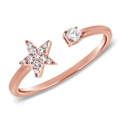 14K Rose Gold Diamond Mini Star Open Cuff Ring