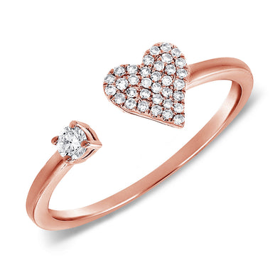 14K Rose Gold Diamond Open Heart Cuff Ring