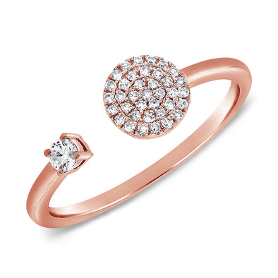 14K Rose Gold Diamond Open Cuff Disc Ring
