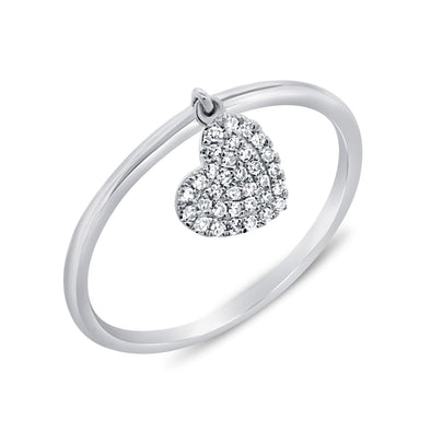 14K Diamond Pave Dangle Heart Ring