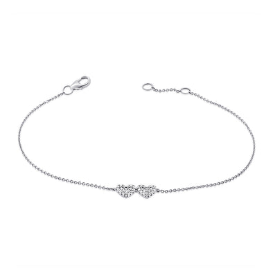 14K White Gold Diamond Double Heart Bracelet