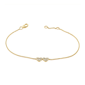 14K Yellow Gold Diamond Double Heart Bracelet