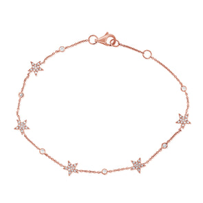 14K Rose Gold Star Diamond By The Yard Bracelet