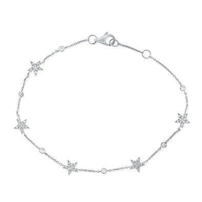 14K White Gold Star Diamond By The Yard Bracelet