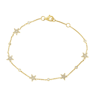 14K Yellow Gold Star Diamond By The Yard Bracelet