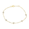 14K Yellow Gold Diamond Pave Heart & Bezel Diamond Bracelet