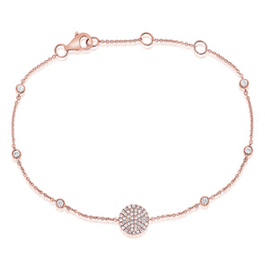 14K Rose Gold Diamond Pave Disc & Bezel Station Bracelet