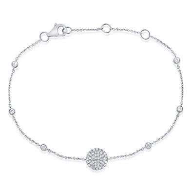 14K White Gold Diamond Pave Disc & Bezel Station Bracelet