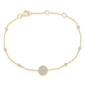 14K Yellow Gold Diamond Pave Disc & Bezel Station Bracelet
