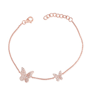 14K Rose Gold Diamond Pave Double Butterfly Bracelet