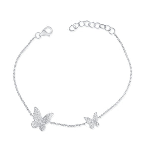 14K White Gold Diamond Pave Double Butterfly Bracelet