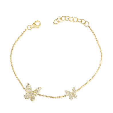 14K Yellow Gold Diamond Pave Double Butterfly Bracelet