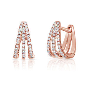 14K Rose Gold Diamond Triple Huggie Earrings