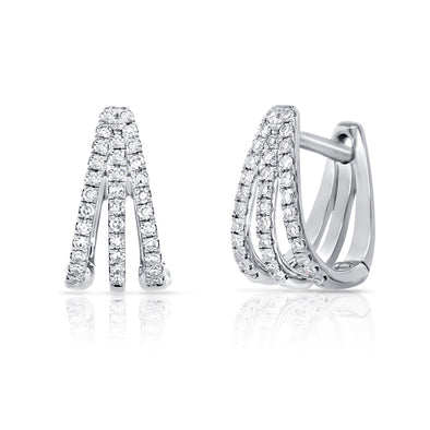 14K White Gold Diamond Triple Huggie Earrings